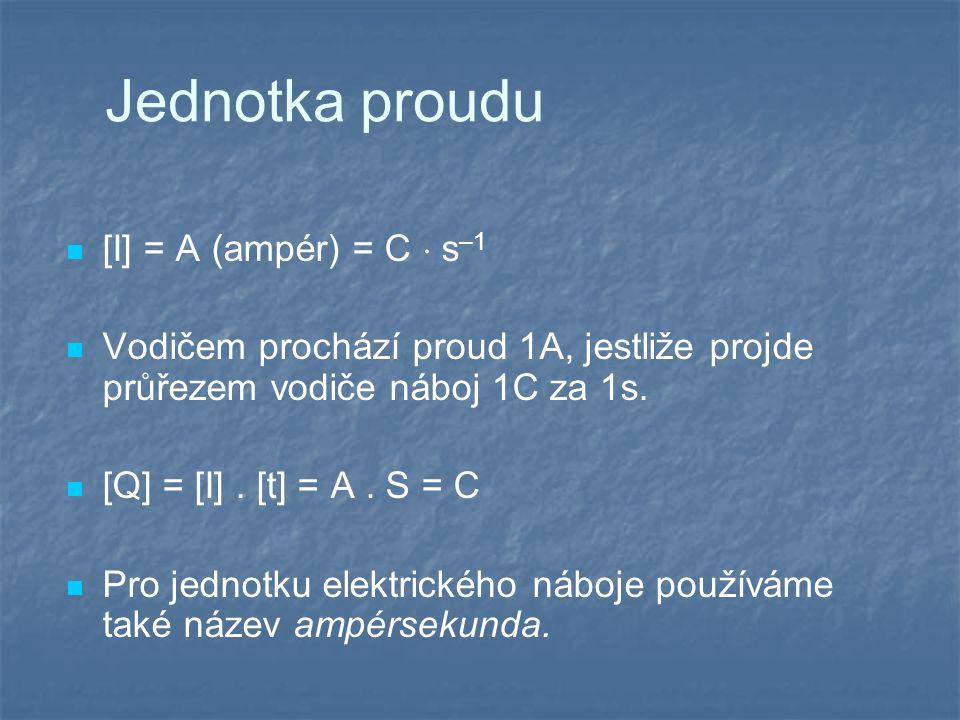 Jednotka proudu [I] = A (ampér) = C  s–1